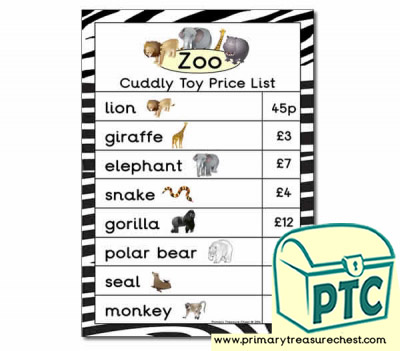 Zoo Gift Shop Toy Price List - 21p-£99