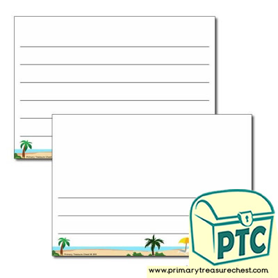 Tropical Island Landscape Page Border/Writing Frame (wide lines)
