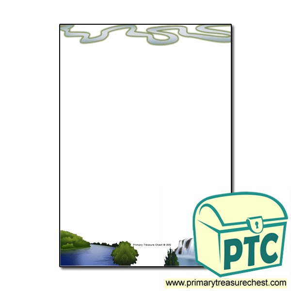 River Themed Page Border Writing Frame No Lines