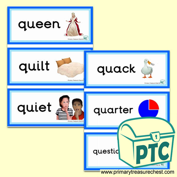 4 letter words starting with q letter q themed flashcards primary treasure chest 20134