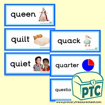 Letter q themed flashcards word mats posters challenges letter q themed flashcards spiritdancerdesigns Gallery