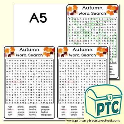 A5 Autumn Word Search (Hard)