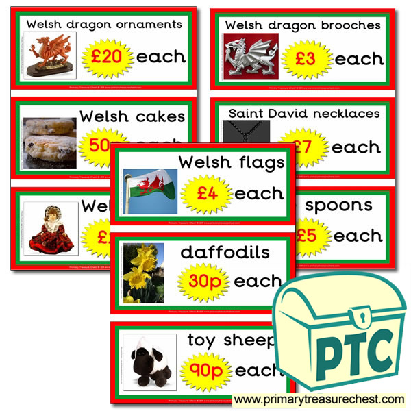 Welsh Gift Shop Prices Flashcards (21p-£99)