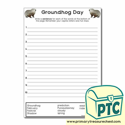 Groundhog Day Themed Sentence Worksheet