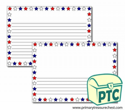 Red, White and Blue Stars Landscape Page Border/Writing Frame (narrow lines)