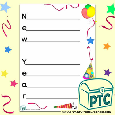 'New Year' A4 portrait acrostic poem sheet.