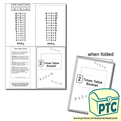 Two Times Table Booklet - 1x0, 1x1, 1x2, 1x3, 1x4, 1x5...1x12 format.