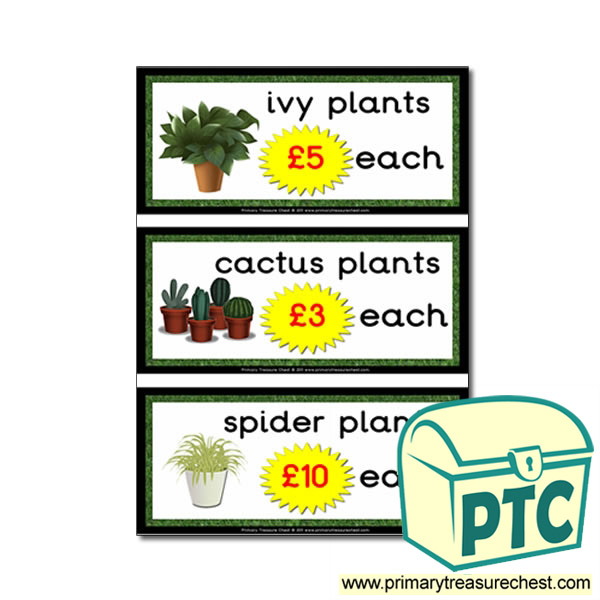 Role Play Garden Centre Plants Prices (21p-£99)