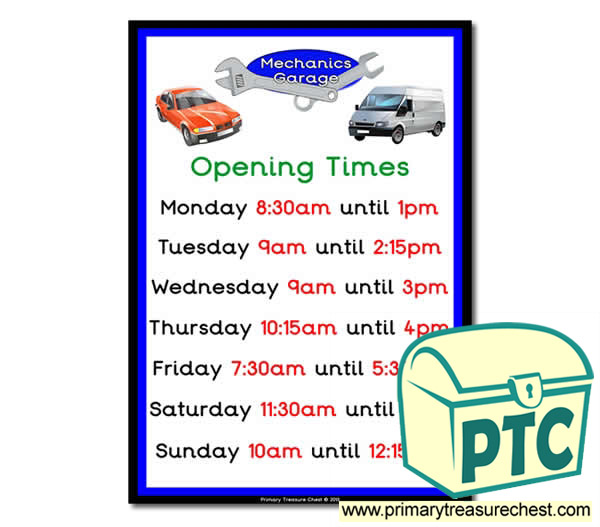 Mechanics Garage Role Play Opening Times (quarter & half past)