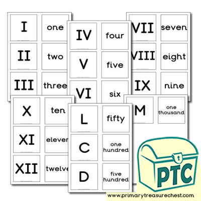 Roman Numerals and Text Matching Cards