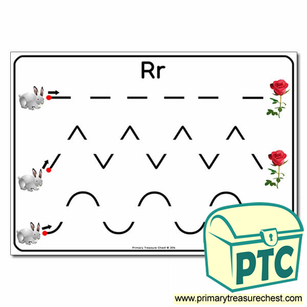 'Rr' Themed Pre-Writing Patterns Activity Sheet