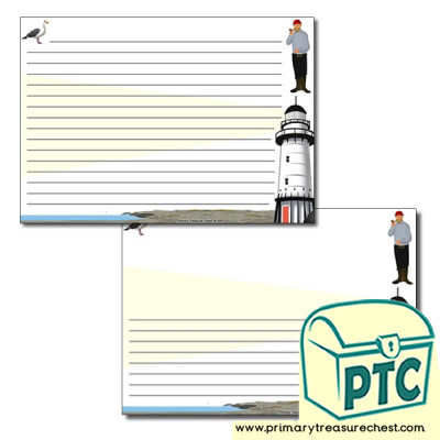 Lighthouse Themed Landscape Page Border/Writing Frame (narrow lines)