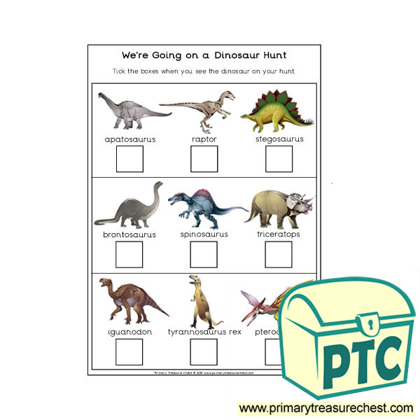 we 39 re going on a dinosaur hunt worksheet primary treasure chest. Black Bedroom Furniture Sets. Home Design Ideas