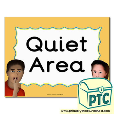quiet area sign for the classroom primary treasure chest
