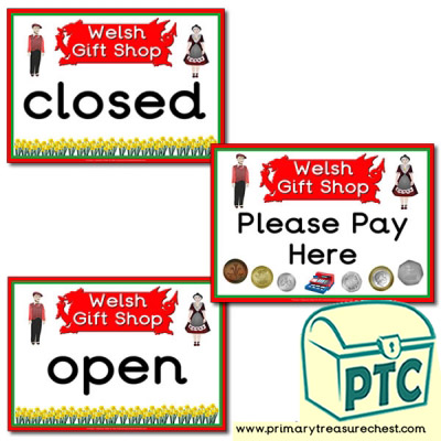 Role Play Welsh Gift Shop Signs