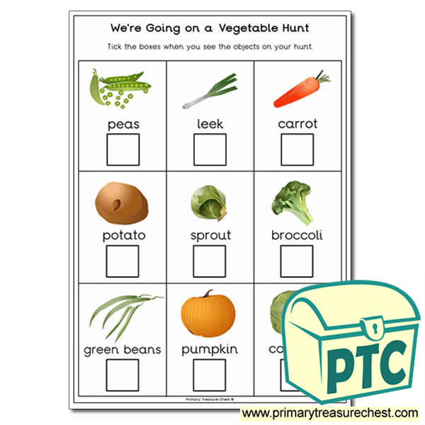 We're Going on a Vegetable Hunt A4 worksheet.