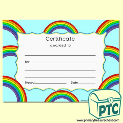Rainbow Themed Certificate