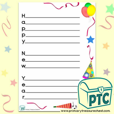 'Happy New Year' A4 portrait acrostic poem sheet.