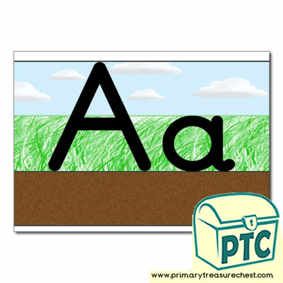 Letter 'Aa' Ground-Grass-Sky Letter Formation Sheet