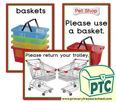 Pet Shop Shopping Basket Signs