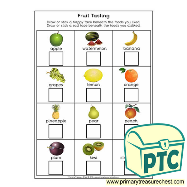Fruit Tasting Worksheet Primary Treasure Chest