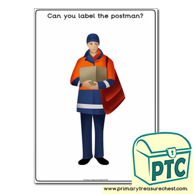 'Can you label the postman' A4 worksheet , without the lines and boxes.