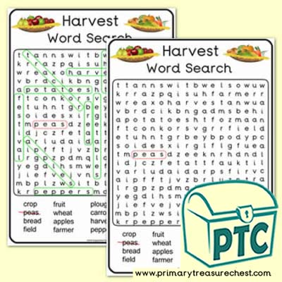 Harvest A4 Word Search Worksheet