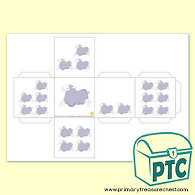 Sheep themed Number Shapes Dice