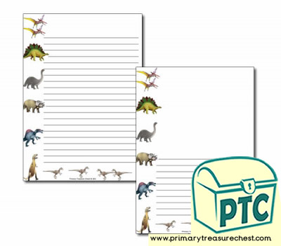 Dinosaur Themed Page Borders/Writing Frames (narrow lines)