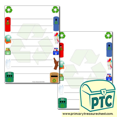 Recycling Page Border/Writing Frame (wide lines)
