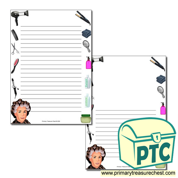 Hairdressers Themed Page Border/Writing Frame (narrow lines)