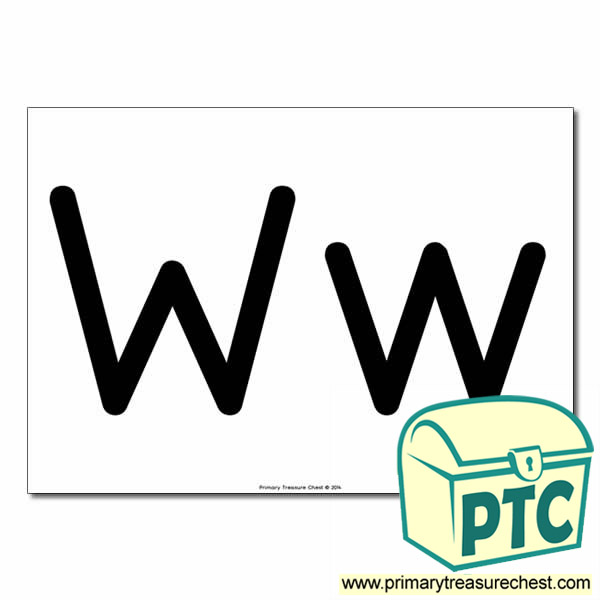 'Ww' Upper and Lowercase Letters A4 poster (No Images)