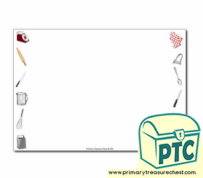 Cooking Equipment Themed Landscape Page Borders/Writing Frames (no lines)