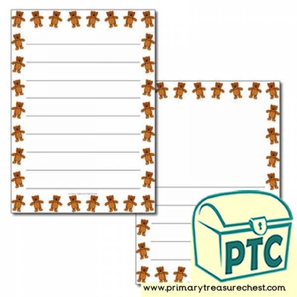 Teddy Bear themed Page Border/ Writing Frames (wide lines)