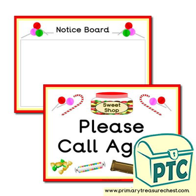 Sweet Shop Role Play Notice Board & Call Again Signs