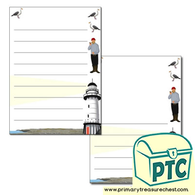 """<span class=""""highlight"""">Lighthouse</span> Keeper Themed Page Border/Writing Frame (wide lines)&#160;..."""