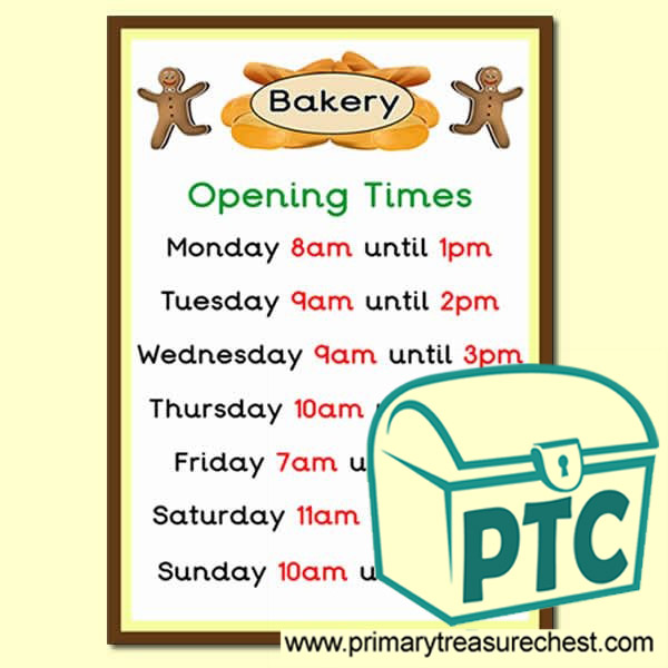 Bakery Shop Role Play Shop Opening Times (O'Clock)