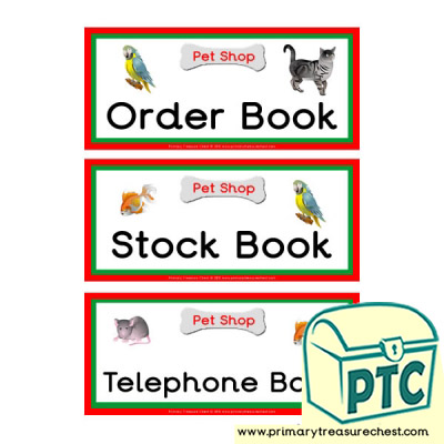 Pet Shop Role Play Book Labels