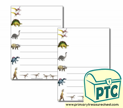 Dinosaur Themed Page Borders/Writing Frames (wide lines)