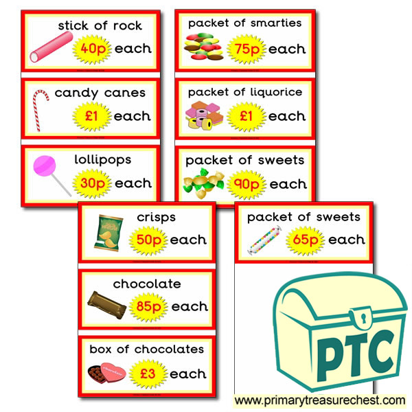 Sweet Shop Role Play Prices Flashcards (21p - £99)