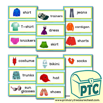 Summer Clothes Themed Flashcards