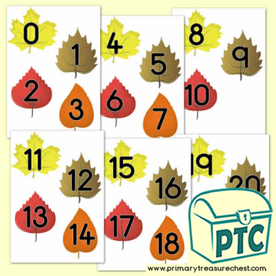 Autumn Leaves Themed Numbers 0 to 20