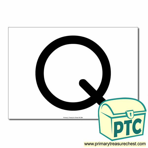 'Q' Uppercase Letter A4 poster  (No Images)
