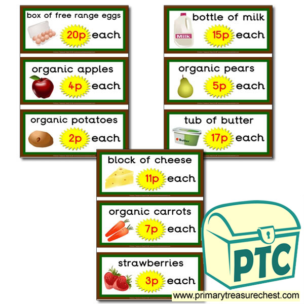 Farm Shop Role Play Prices Flashcards (1-20p)