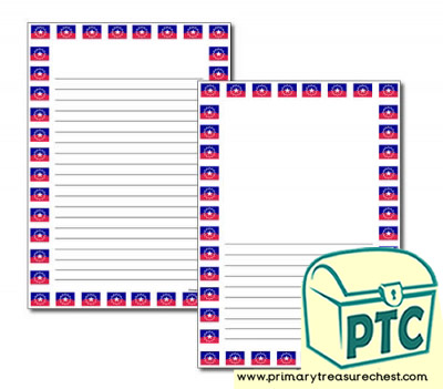 Juneteenth Flag Themed Page Border/Writing Frame (narrow lines)