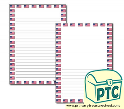 American Flag Page Border/Writing Frame (narrow lines)