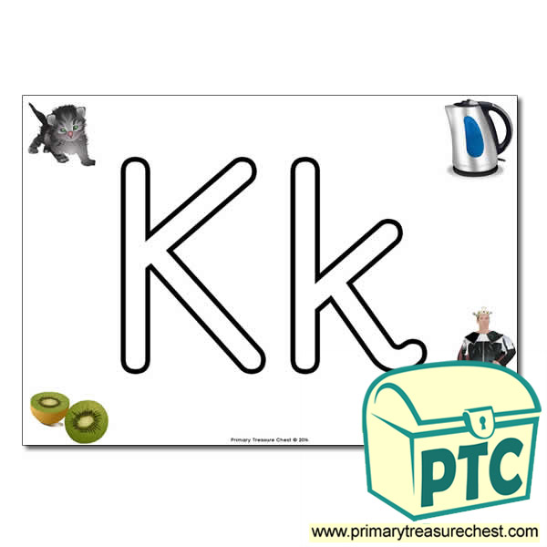 'Kk' Upper and Lowercase Bubble Letters A4 Poster, containing high quality, realistic images