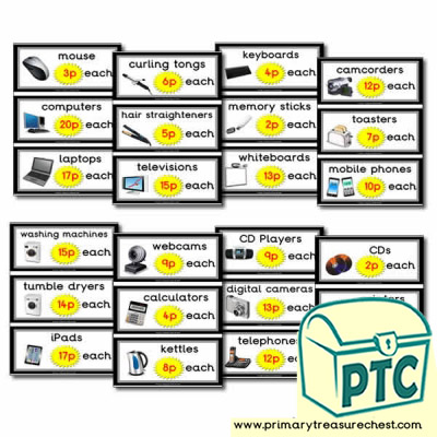 Role Play Electrical Shop Prices Flashcards (1-20p)