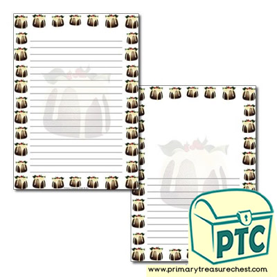 Christmas Pudding Page Border / Writing Frame (narrow lines)