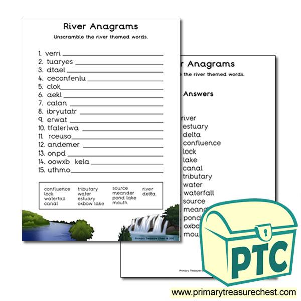 river themed anagram worksheet primary treasure chest. Black Bedroom Furniture Sets. Home Design Ideas